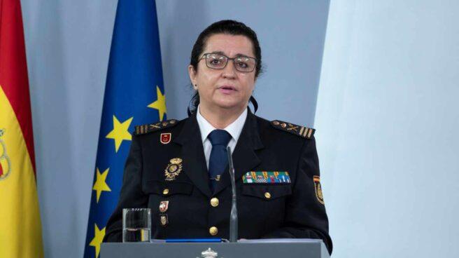 La comisaria principal Pilar Allué, en una comparecencia informativa en La Moncloa.