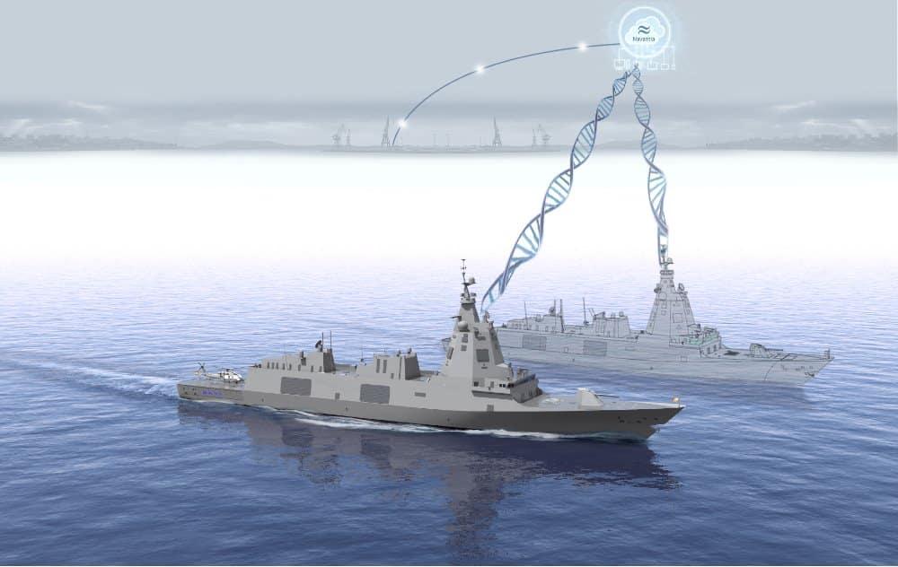 Recreación de un buque gemelo digital de Navantia.