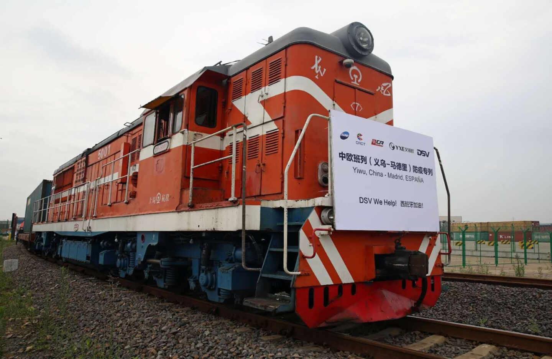 El tren que ha trasladado material sanitario para el Gobierno entre China y España.