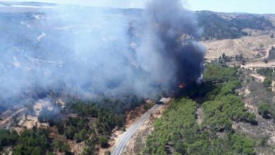 Más de cien efectivos y 19 aeronaves luchan contra el incendio de Almonaster la Real (Huelva)