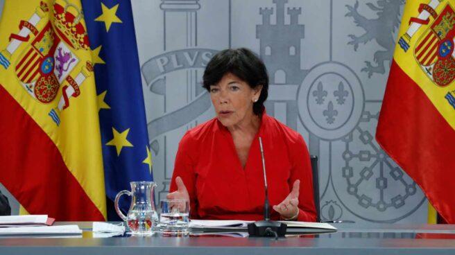 La ministra de Educación, Isabel Celaà, durante la rueda de prensa sobre el inicio de curso.