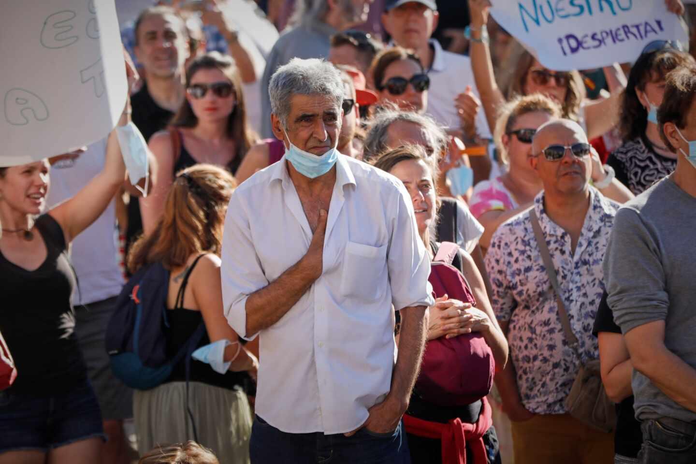 Concentración en Plaza de Colón contra el uso de mascarillas.