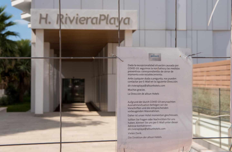 Un hotel cerrado en Playa de Palma, en Mallorca.
