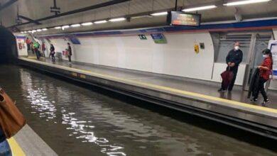 Caos en el Metro de Madrid por el diluvio: inundaciones en estaciones y andenes