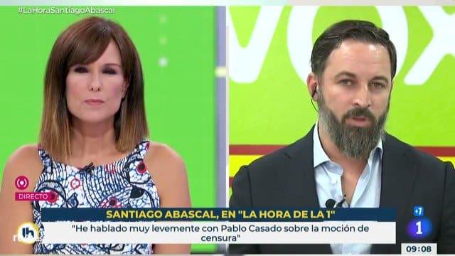 El líder de Vox, Santiago Abascal, en La Hora de La 1, de TVE.