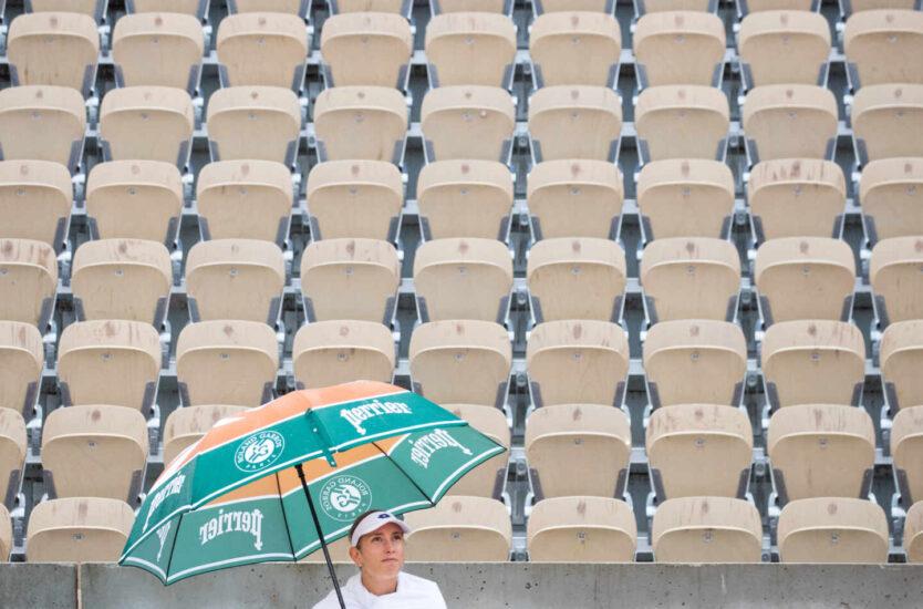 Los paraguas, uno de los símbolos del torneo parisino