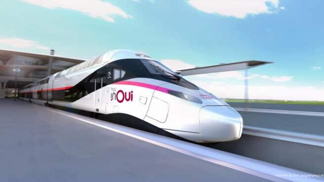 Un tren Alstom Euroduplex de Ouigo, alta velocidad de dos pisos.