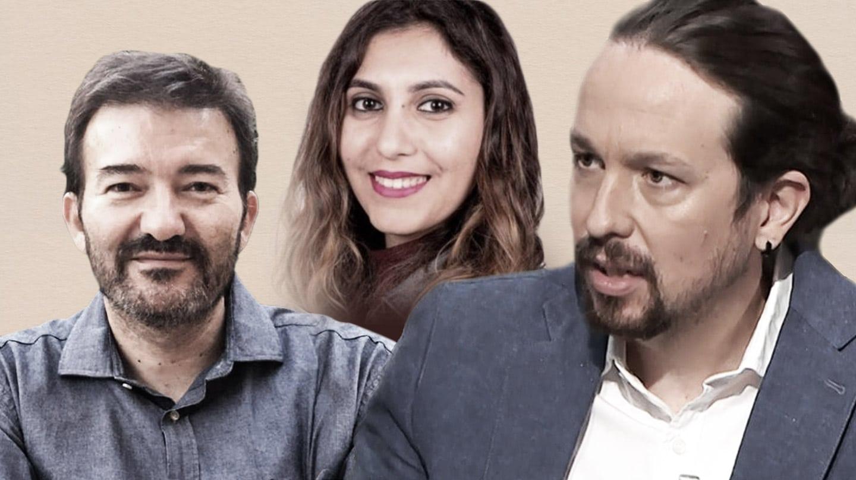 El ex abogado de Podemos, José Manuel Calvente, Dina Bousselham y Pablo Iglesias.