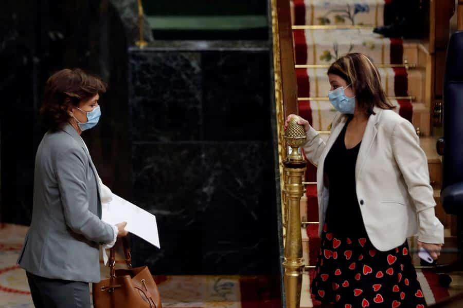 Carmen Calvo y Felipe VI, en el Congreso de los Diputados.