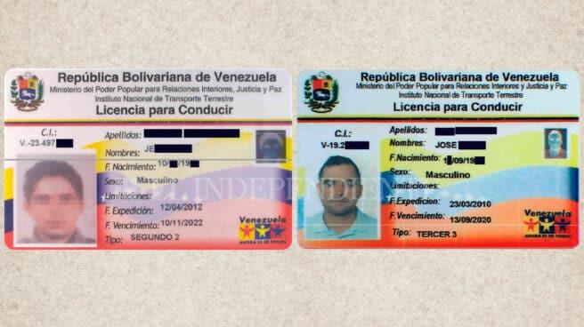 A la izquierda, licencia de conducir oficial de Venezuela y, a la derecha, copia falsificada.