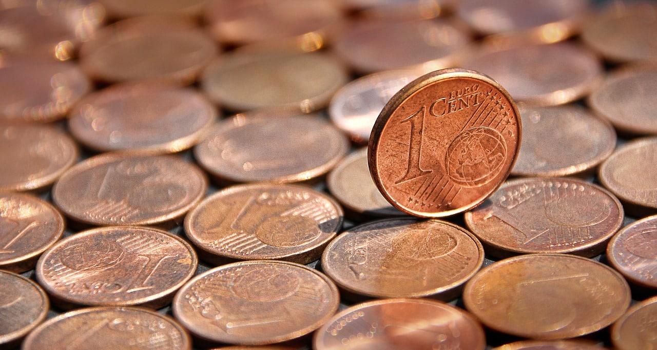 Monedas de un céntimo.