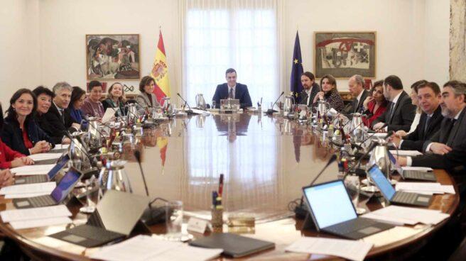 Pedro Sánchez y sus ministros, en una de las reuniones semanales de los martes.