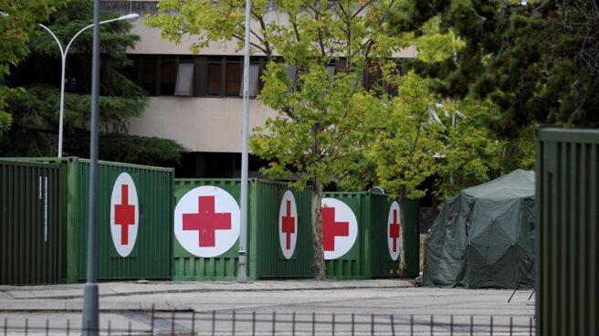 Hospital de campaña en el aparcamiento del Hospital Gómez Ulla de Madrid.