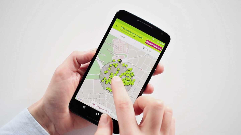 Aplicación para móvil del portal inmobiliario Idealista.