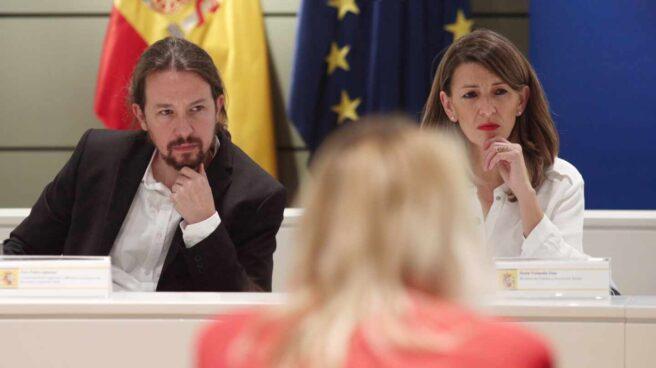 El vicepresidente Pablo Iglesias y la ministra de Trabajo, Yolanda Díaz.