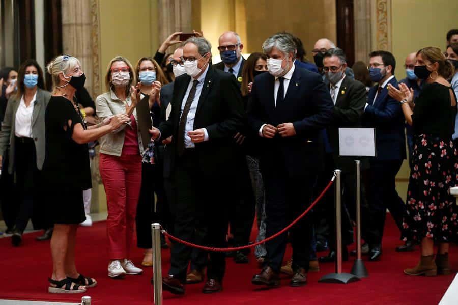 Quim Torra, en el Parlament tras su inhabilitación.