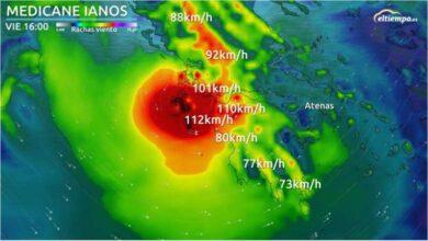 Radiografía del Medicane Ianos, el ciclón que impactará en Grecia