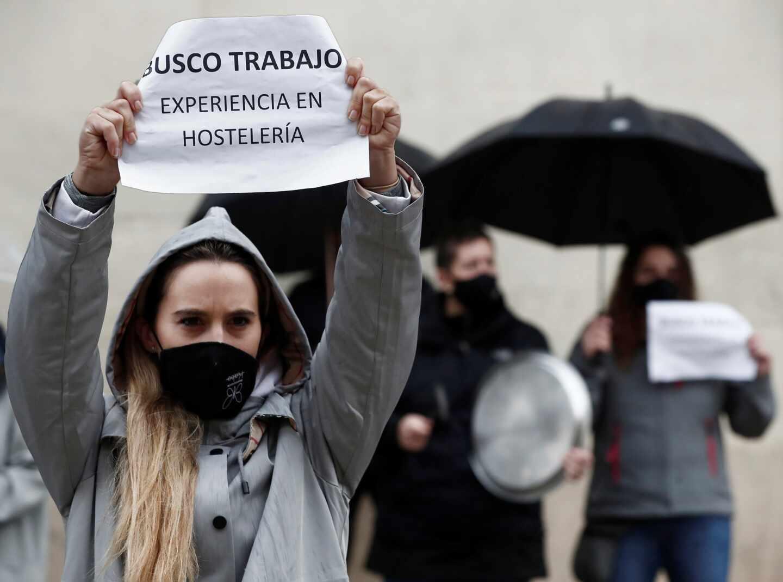 Protesta de los hosteleros en Pamplona.
