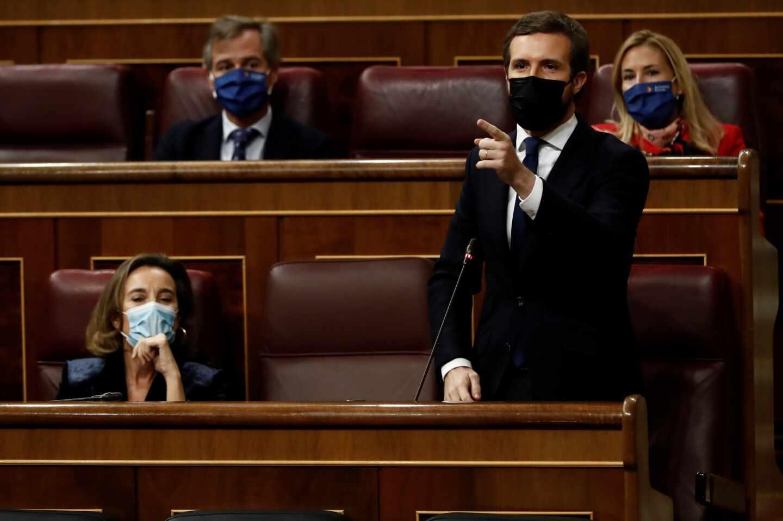 El líder del PP, Pablo Casado, durante su intervención en la sesión de control al Ejecutivo este miércoles en el Congreso.