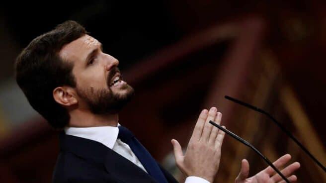 El líder del PP, Pablo Casado, interviene en el debate de moción de censura.