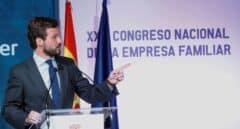 El presidente del PP, Pablo Casado, en el 23 Congreso Nacional de la Empresa Familiar.