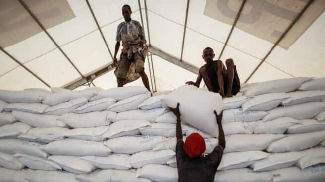 Trabajadores locales de Turkana (Kenia) llevan bolsas de arroz donadas por el Programa Mundial de Alimentos de las Naciones Unidas (PMA).