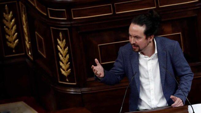El vicepresidente segundo del Gobierno, Pablo Iglesias, durante su intervención en la segunda sesión del debate de moción de censura presentada por Vox, este jueves en el Congreso.
