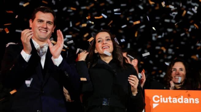 Fotografía de archivo. Albert Rivera e Inés Arrimadas celebran la victoria electoral del partido en Cataluña en 2017