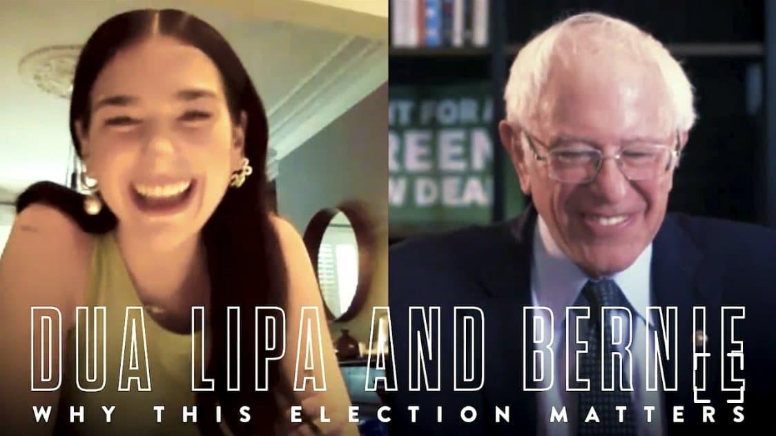 Dua Lipa y Bernie Sanders unieron fuerzas en Instagram para reivindicar la importancia del voto en estas próximas elecciones.
