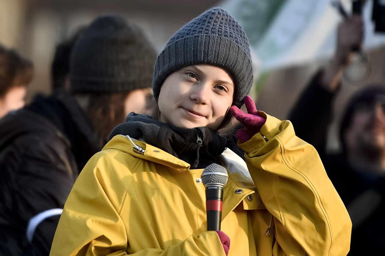 La activista climática Greta Thunberg, en una huelga en Turín.