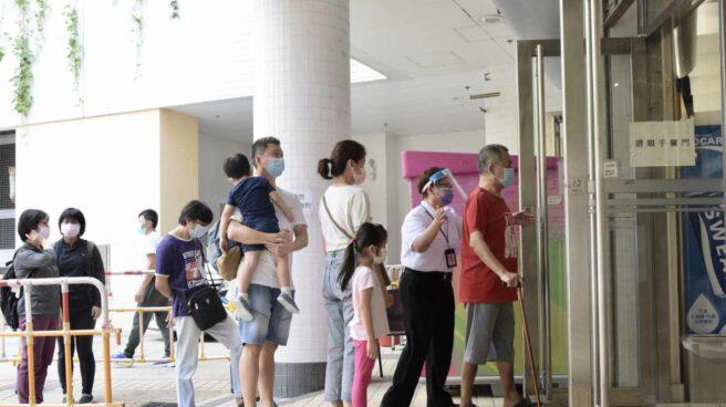 Test de coronavirus en Hong Kong.
