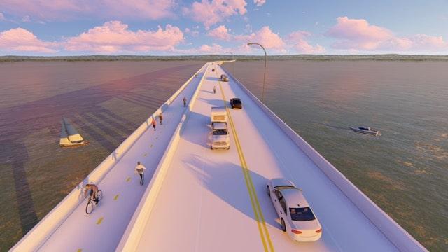 Representación del proyecto de ACS sobre el lago Ralph Hall, en Texas.