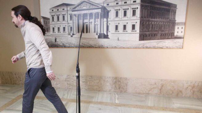 El secretario general de Podemos, Pablo Iglesias, en el Congreso de los Diputados.