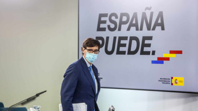 El ministro de Sanidad, Salvador Illa, antes de una comparecencia informativa en La Moncloa.
