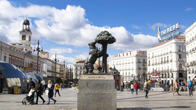 La Puerta del Sol, con la nueva ubicación de la estatua del oso y el madroño