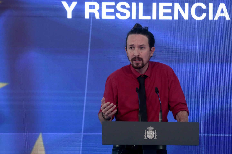 El vicepresidente segundo, Pablo Iglesias, en la presentación del Plan de Recuperación.