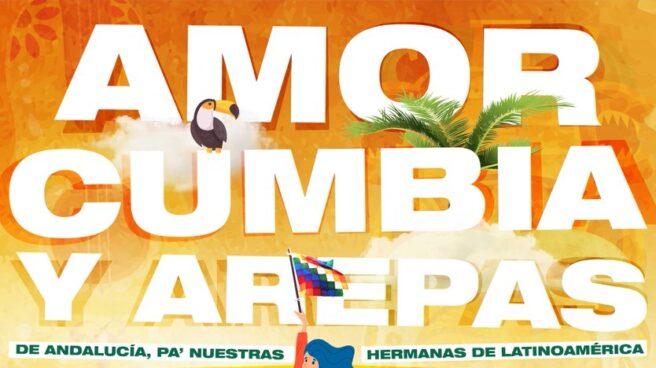 """El cartel de Adelante Andalucía para el 12-O: """"Amor, cumbia y arepas"""""""