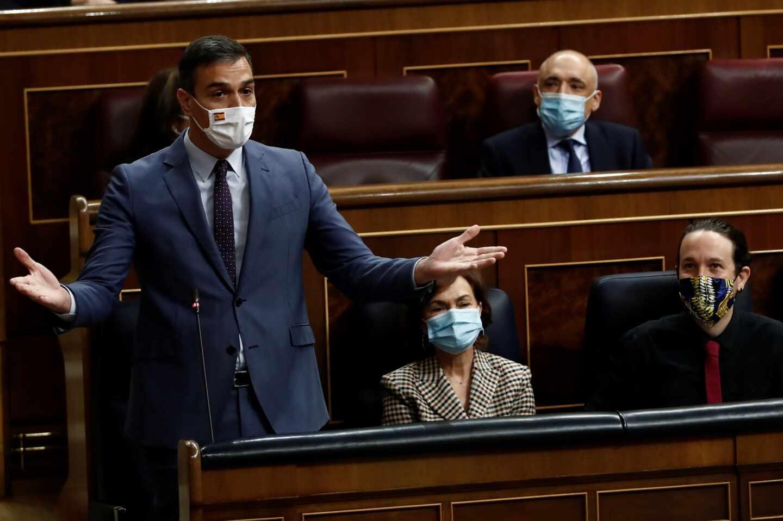 El presidente del Gobierno, Pedro Sánchez, durante su intervención en la sesión de control al Ejecutivo, este miércoles.