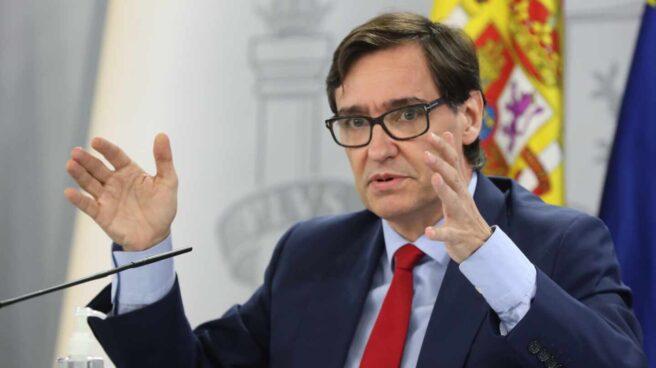 El ministro de Sanidad, Salvador Illa, gesticula durante una comparecencia informativa en La Moncloa.