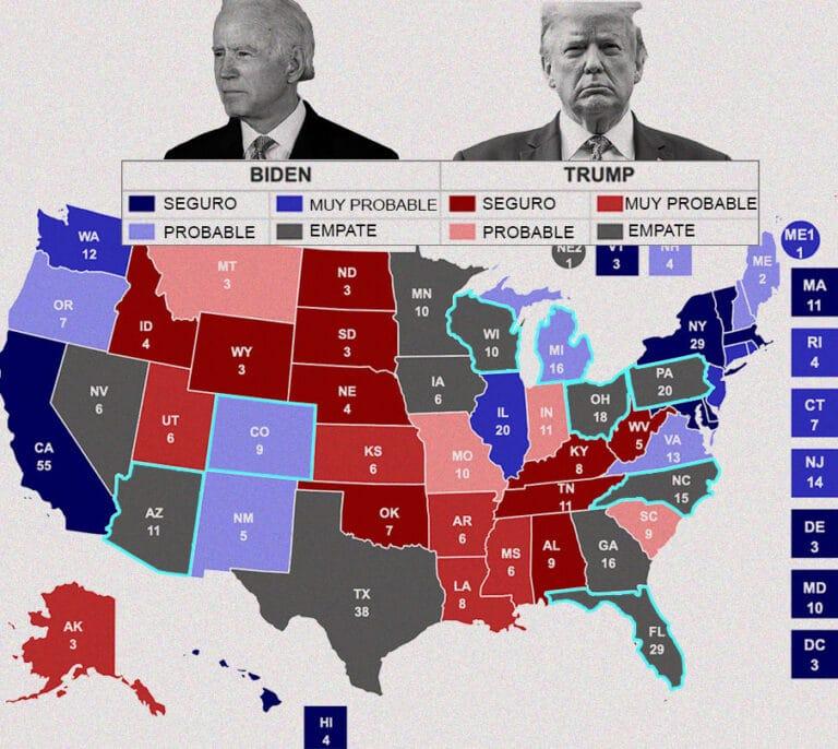 Los ocho 'estados bisagra' donde se decide quién ocupa la Casa Blanca