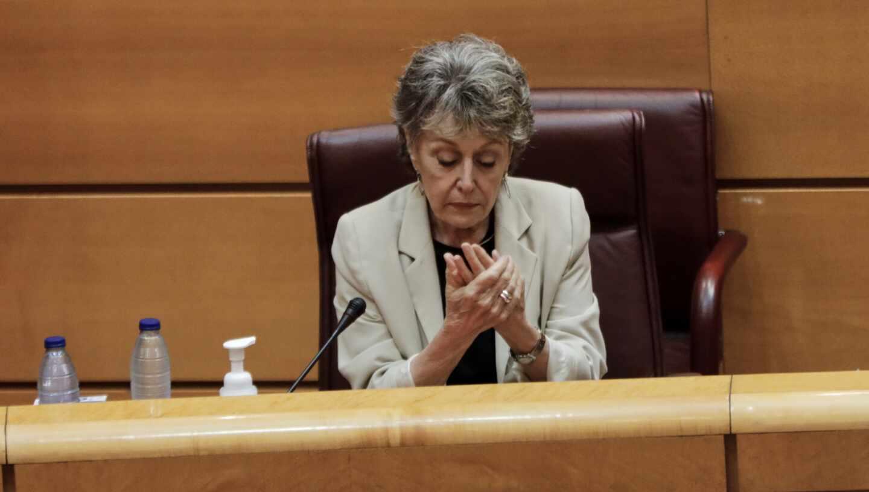 La administradora única de Radio Televisión Española (RTVE), Rosa María Mateo, en una comparecencia en el Senado.