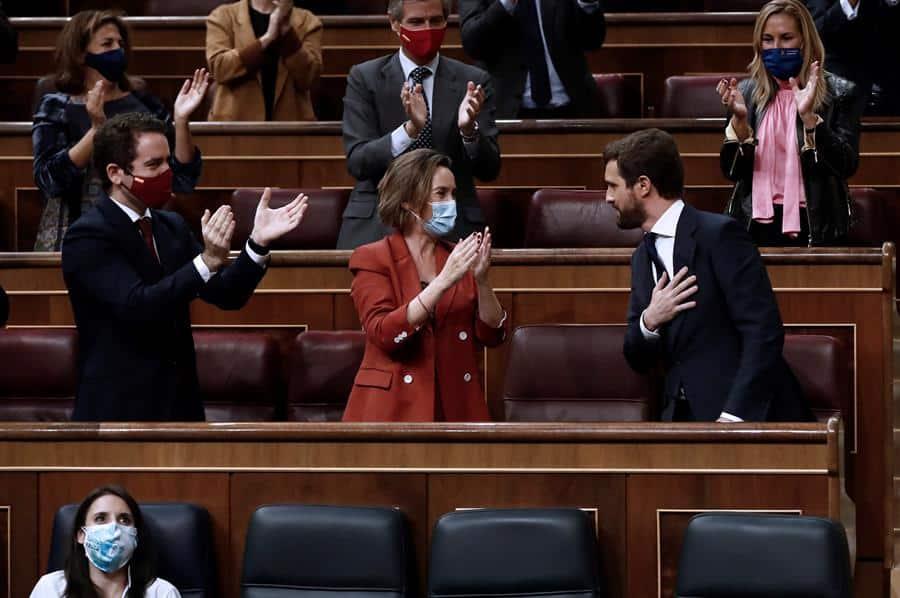 El líder del PP, Pablo Casado, tras su intervención en la moción de censura.