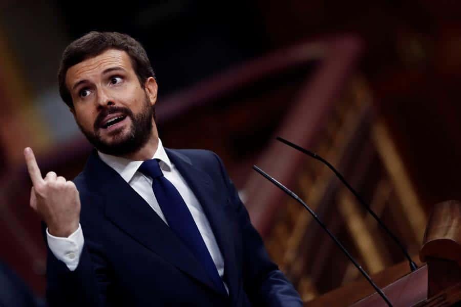Pablo Casado, durante la intervención en la moción de censura.