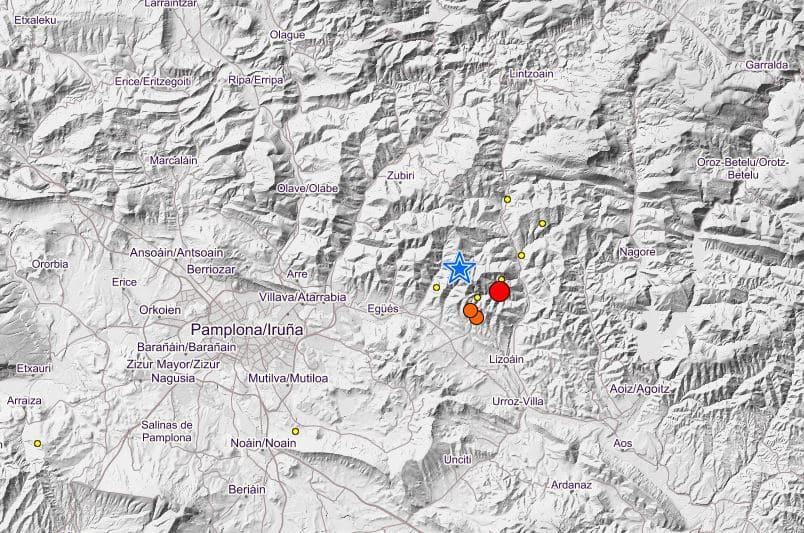 Réplicas del terremoto desatado este 1 de octubre en Lizoáin (Navarra), cerca de Pamplona.
