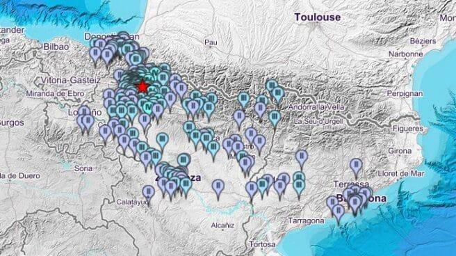 Ubicaciones en las que se ha podido percibir el terremoto de 4,6 grados con epicentro en Lizoáin, cerca de Pamplona.