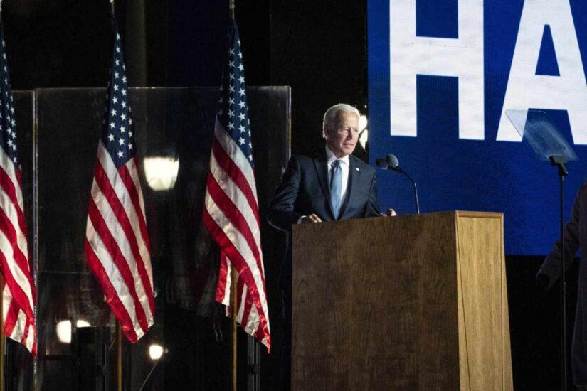 Joe Biden durante su discurso en Wilmington, Delaware