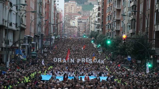 Manifestación por los derechos de los presos de ETA en Bilbao a 11 de enero de 2020.