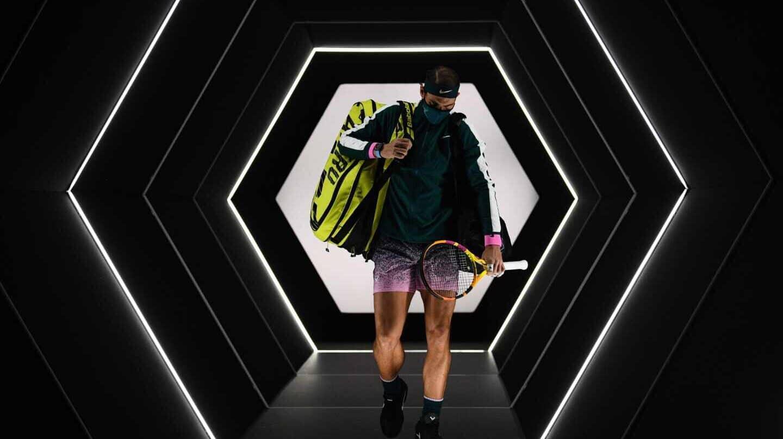 Rafael Nadal, en el torneo de París-Bercy antes de un partido
