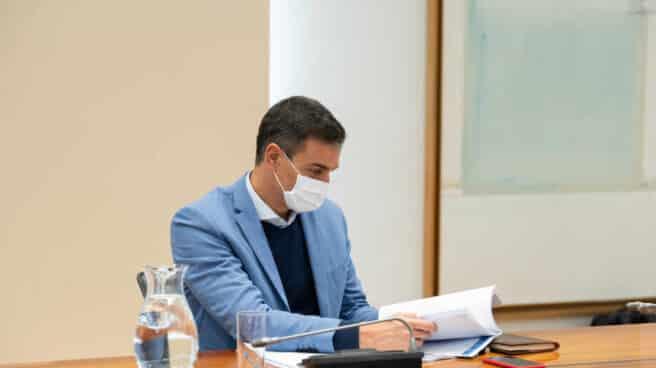 El presidente del Gobierno, Pedro Sánchez, en la reunión del Comité de Seguimiento del Coronavirus.