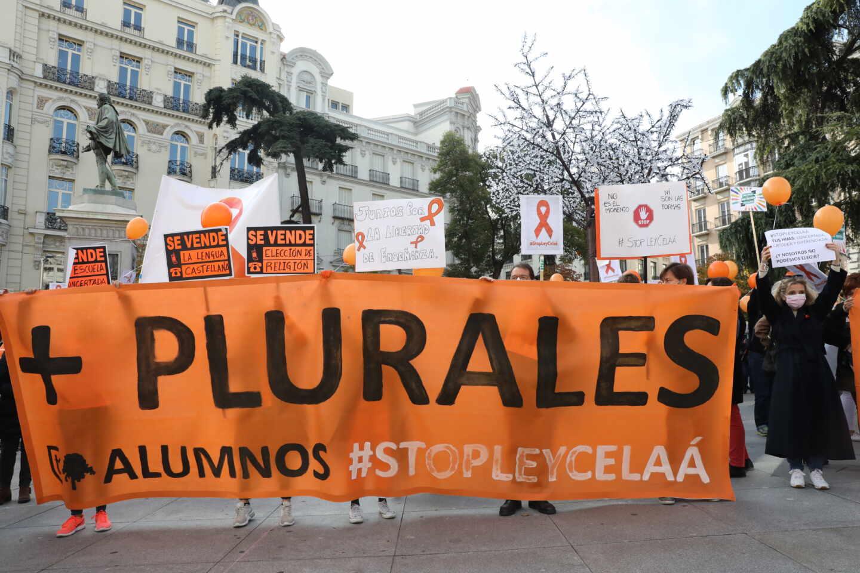 Manifestación contra la Ley Celaá ante el Congreso.